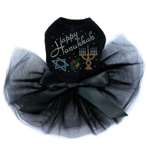 Happy Hanukkah - Dreidel, Menorah and Star of David - Tutu
