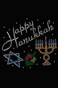Happy Hanukkah - Dreidel, Menorah and Star of David - Women's Tee