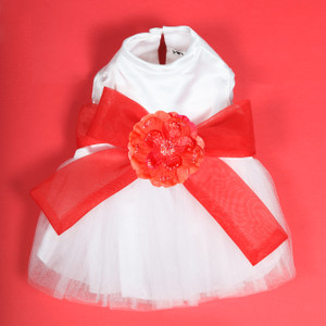 The Madeleine Harness Dog Dress with Red Sash