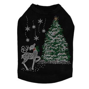 Christmas Tree with Reindeer - Black Dog Tank