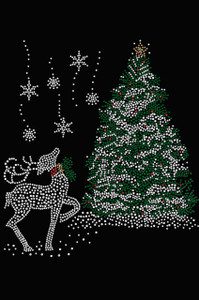 Christmas Tree with Reindeer - Women's Tee