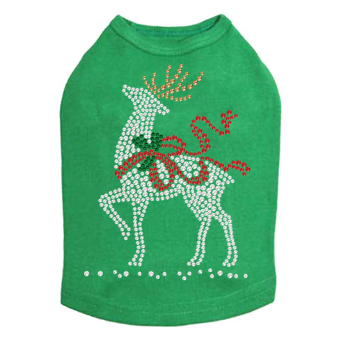 Reindeer with Red Bow - Kelly Green Dog Tank