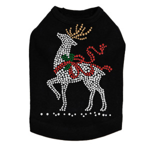 Reindeer with Red Bow - Black Dog Tank
