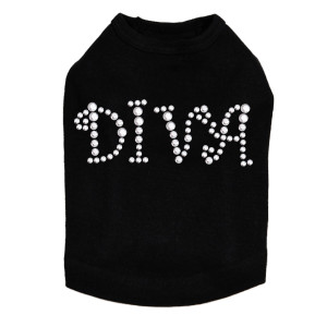 "Diva - Silver Rhinestuds rhinestone dog tank for large and small dogs. 4"" X 1.75"" design with silver rhinestuds."