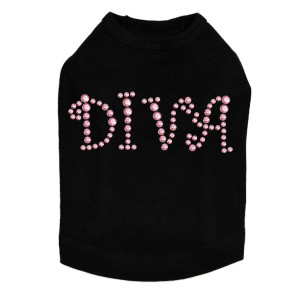 "Diva - Pink Rhinestuds rhinestone dog tank for large and small dogs. 4"" X 1.75"" design with Pink rhinestuds."