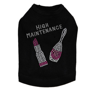 "High Maintenance with Swarovski Nail Polish & Lipstickrhinestone dog tank for large and small dogs. 5"" X 5"" design with fuchsia & silver Swarovski rhinestones, nailheads, & rhinestuds."