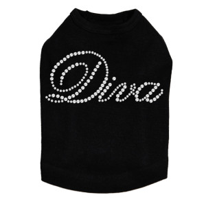 Diva rhinestone dog tank for large and small dogs.