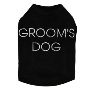 "Groom's Dog  rhinestone dog tank for large and small dogs. 5"" X 2"" (small) & 8"" X 3"" (large) design with clear rhinestones. Matching rhinestone t-shirts for pet owners. Over 800 rhinestone designs to choose from."
