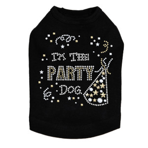 Party Dog rhinestone dog tank for large and small dogs.