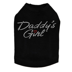 Daddy's Girl with Red Heart rhinestone dog tank for large and small dogs.