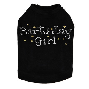 Birthday Girl with Gold Stars rhinestone dog tank for large and small dogs.