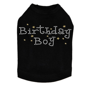 Birthday Boy with Gold Stars rhinestone dog tank for large and small dogs.