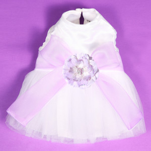 Special occasion dress for parties, weddings & other special events.  Bodice and skirt are made with layers of shimmer tulle to reflect the colors of the organza sash and beaded silk flower.