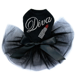 Diva with Swarovski Red Lipstick dog tutu for large and small dogs.