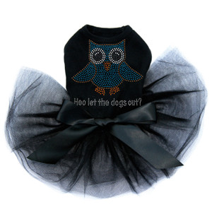 "Blue Owl with ""Who Let the Dogs Out?"" Tutu"
