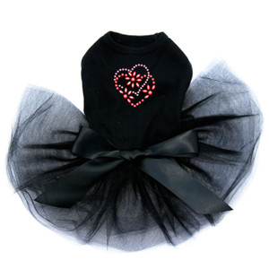 Pink & Red Flower Heart dog black tutu for large and small dogs.