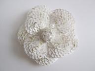 White Sequin Camellia Flower Sticker
