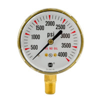 "Brass Replacement Regulator Gauge 2 1/2"" x 4000 PSI"