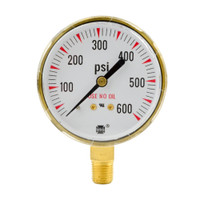 "Brass Replacement Regulator Gauge 2 1/2"" x 200 PSI"