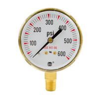 "Brass Replacement Regulator Gauge 2 1/2"" x 200 PSI"