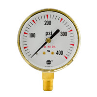"Brass Replacement Regulator Gauge 2 1/2"" x 400 PSI"