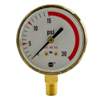 "Brass Replacement Regulator Gauge 2 1/2"" x 30 PSI RL"