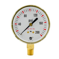 "Steel Replacement Regulator Gauge 2 1/2"" x 200 PSI"