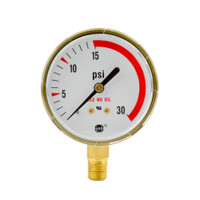"Steel Replacement Regulator Gauge 2 1/2"" x 30 PSI RL"