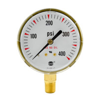 "Steel Replacement Regulator Gauge 2 1/2"" x 400 PSI"