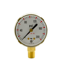 "Steel Replacement Regulator Gauge 2"" x 200 PSI"