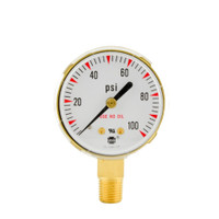 "Brass Replacement Regulator Gauge 2"" x 100 PSI"