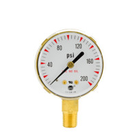 "Brass Replacement Regulator Gauge 2"" x 200 PSI"