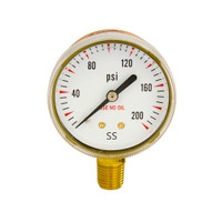 "Steel Replacement Regulator Gauge 2"" x 200 PSI Non UL"