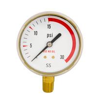 """Steel Replacement Regulator Gauge 2 1/2"""" x 30 PSI Non UL"""