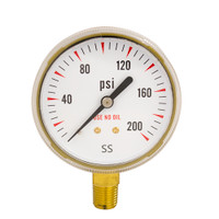 "Steel Replacement Regulator Gauge 2 1/2"" x 200 PSI Non UL"