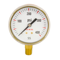 "Steel Replacement Regulator Gauge 2 1/2"" x 400 PSI Non UL"