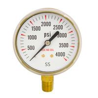 """Steel Replacement Regulator Gauge 2 1/2"""" x 4000 PSI Non UL"""