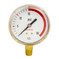 "Brass Replacement Regulator Gauge 2 1/2"" x 30 PSI Non UL"