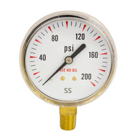 "Brass Replacement Regulator Gauge 2 1/2"" x 200 PSI Non UL"