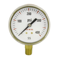 "Brass Replacement Regulator Gauge 2 1/2"" x 400 PSI Non UL"