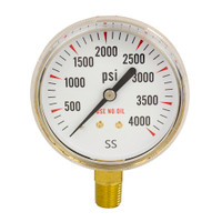 "Brass Replacement Regulator Gauge 2 1/2"" x 4000 PSI Non UL"
