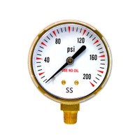 "Steel Replacement Regulator Gauge 2"" x 200 PSI Non UL (1435-0091RP /1435-0092RP)"