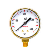 "Steel Replacement Regulator Gauge 2"" x 400 PSI Non UL (1435-0094RP / 1435-0095RP)"