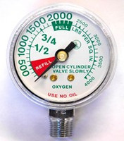 "Replacement Medical Regulator Gauge 1 1/2"" x 4000 PSI LM w/Refill Marks"