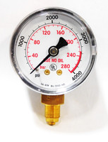 "Harris Gauge 50 mm. x 4,000 psi - 280 BAR, 1/8""-BSP stem"