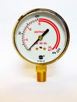 """Brass Gauge 2 1/2"""" X 30 PSI/kPa Dual Scale w/Red Line (Acetylene)"""