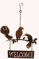 "Metal birds welcome hanging decor 10.5""x16.5""H (min 2, 24/carton)"