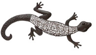 "Hand Crafted Iron & Rattan Gecko wall decor  31""x 2""x 14.5""H"