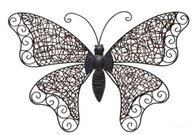 "Hand Crafted Iron & Rattan butterfly wall decor 21""x2.5""x14""H"