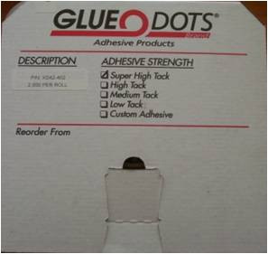 Invisible Solution. Visible Results. Standard Glue Dots provide a clean, instant bond and are often a preferred alternative to hot glues, liquid glues and tapes. Glue Dots leave no mess, residue or odor, presenting your product and preserving your brand, while increasing
